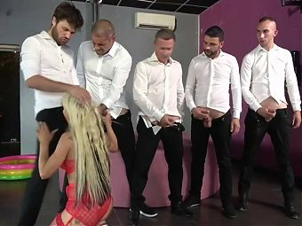 French amateur gangbang, DP and pissing trash